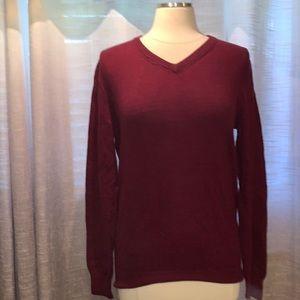 J. Crew burgundy cotton v neck sweater
